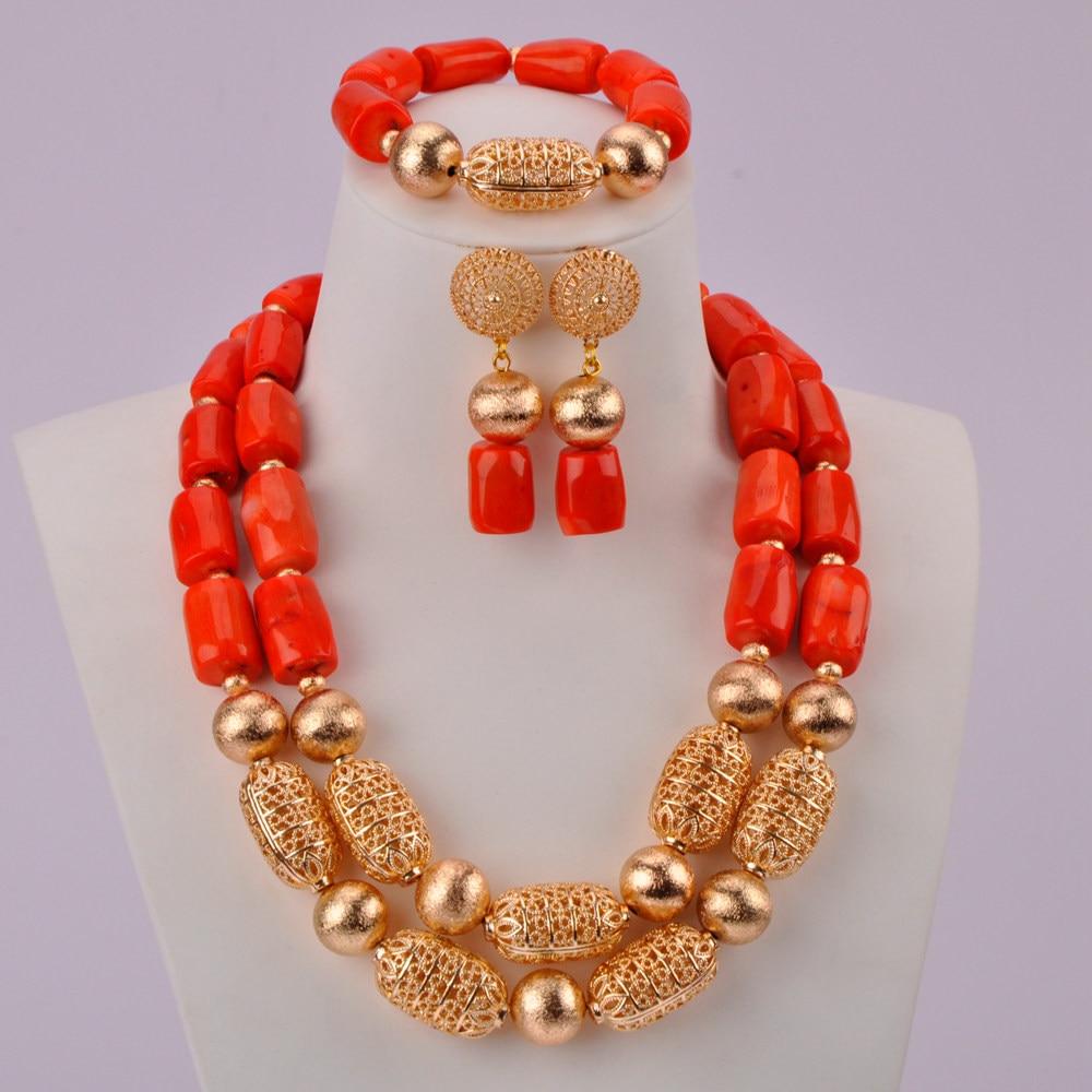 Mode perles de corail Orange collier de corail africain perles nigérianes ensemble de bijoux ensembles de bijoux de mariée CBS37-in Parure de bijoux pour mariée from Bijoux et Accessoires    2