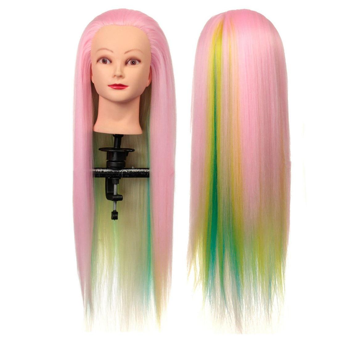 Парикмахерская Длинные Волосы Человека Манекен, кукла Учебные головы-манекены розовый + синий + желтый + зеленый