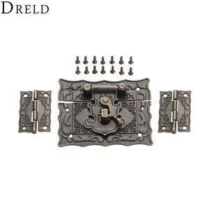 DRELD 2 шт. мебель декоративный шкаф шарнир фурнитура Аксессуары + 1 шт. Античная бронзовая бижутерия деревянная коробка защелка застежка