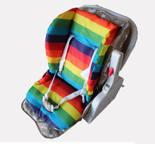 Baby Stroller Seat Cushion Waterproof Soft Rainbow Striped Stroller Baby Cushion Cover Double Side Baby Stroller Seat Cushion