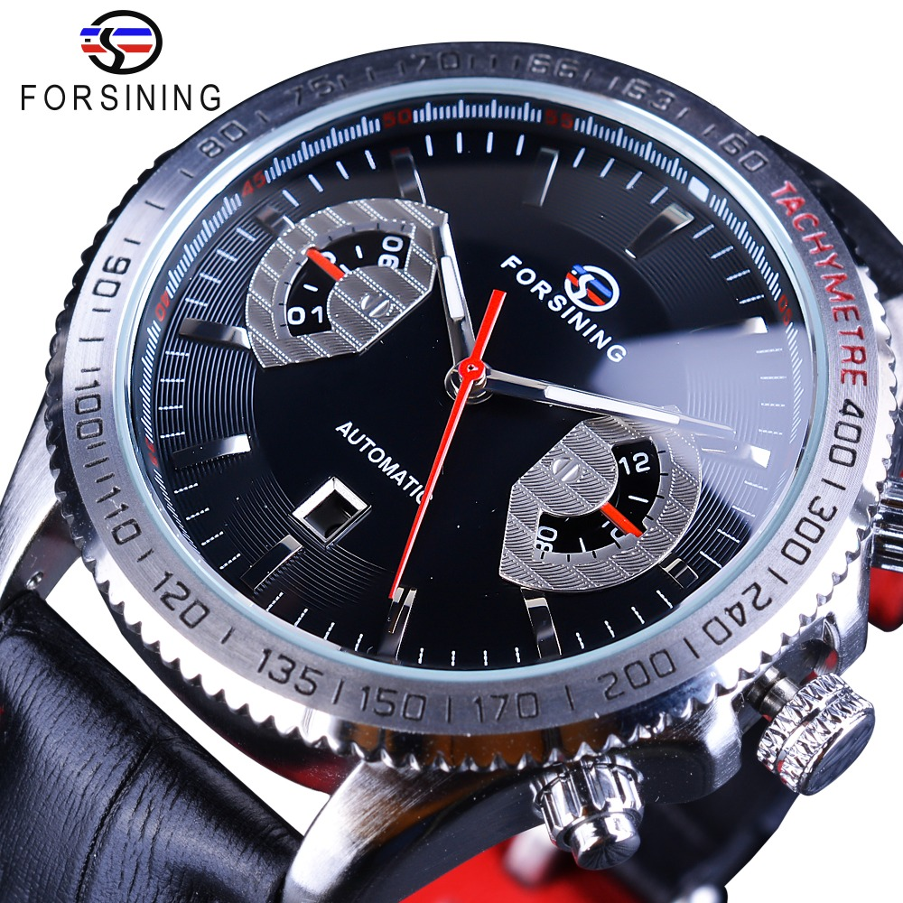 4f9848e4caa Relógios Mecânicos Exibição do Calendário Marca de Luxo Forsining Prata