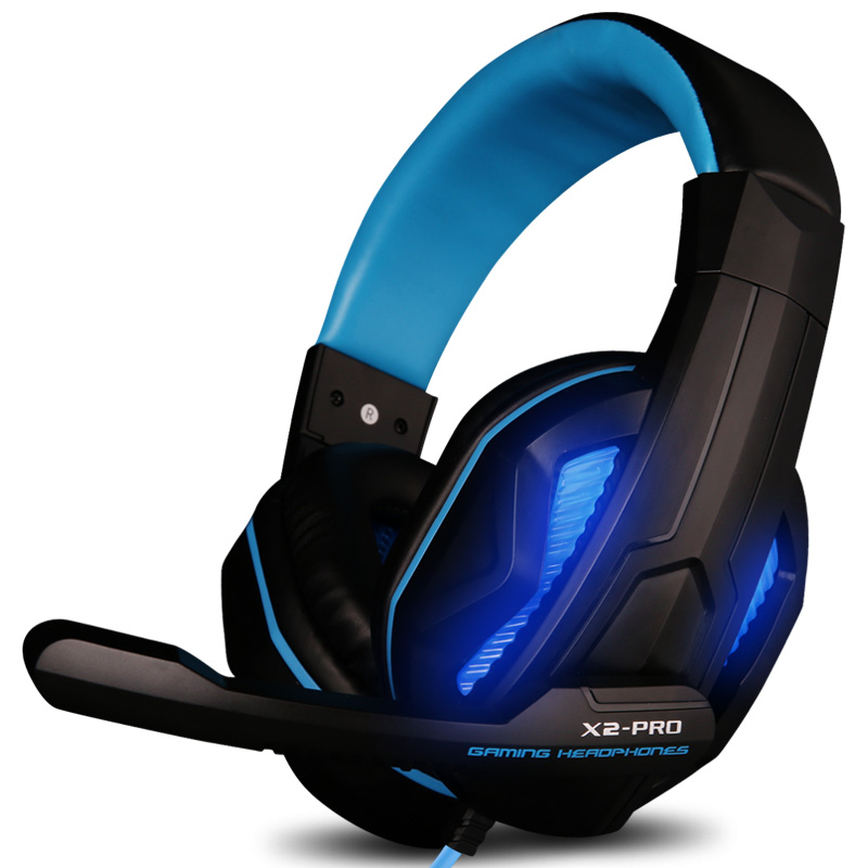 Gaming Headset Over-ear Headphone Earphone Headband with Mic Microphone PC LED Light Bass Stereo Laptop Computer X2 computer earphones with microphone gaming headset over ear stereo bass gaming headphone with noise isolation mic pc gamer tw