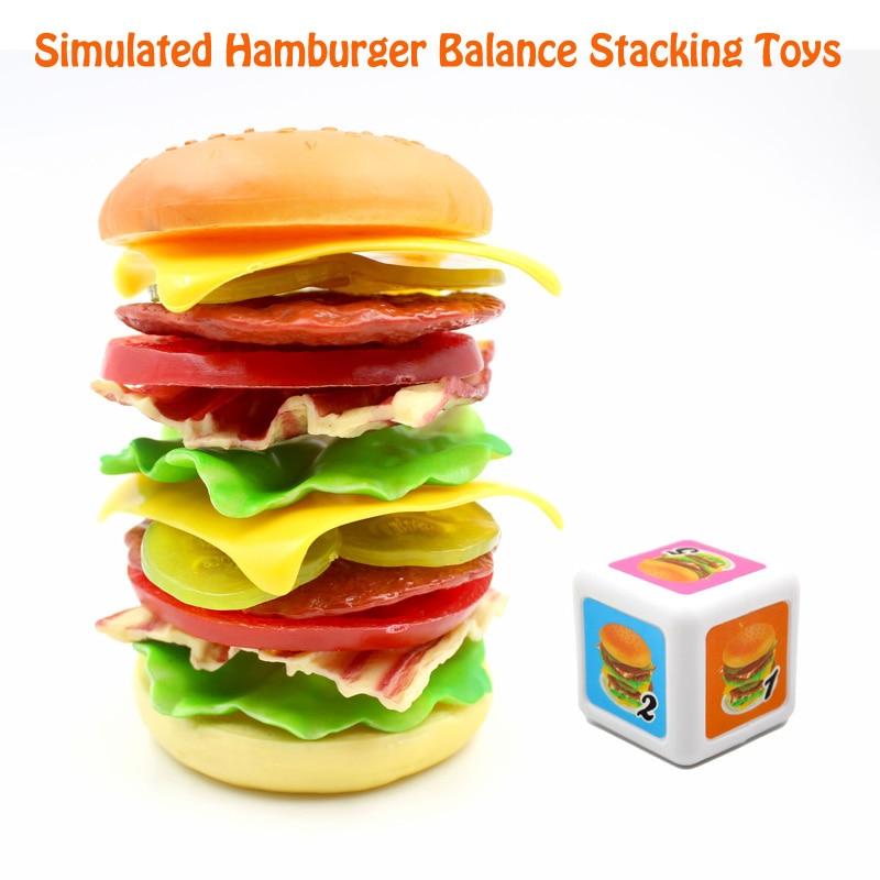 Забавные Пластик имитация гамбургер баланс укладки игрушки набор детские развлечения обучения Образование игрушки для детей Подарки