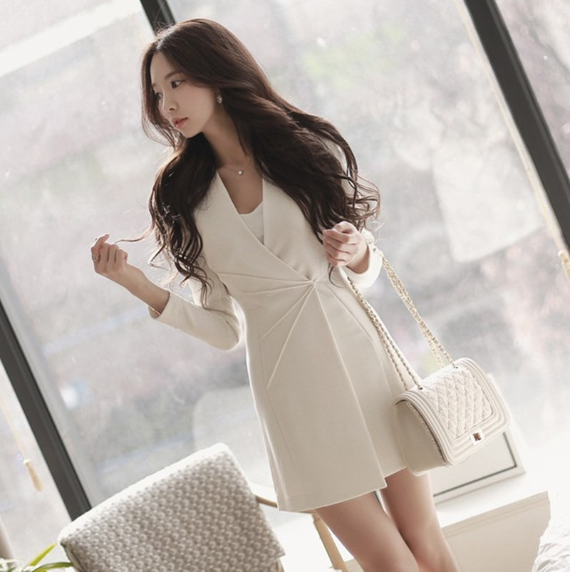 Vajza OL Formale e Biznesit për Punë Veshje, V-Qafë A-Line Zipper - Veshje për femra - Foto 3