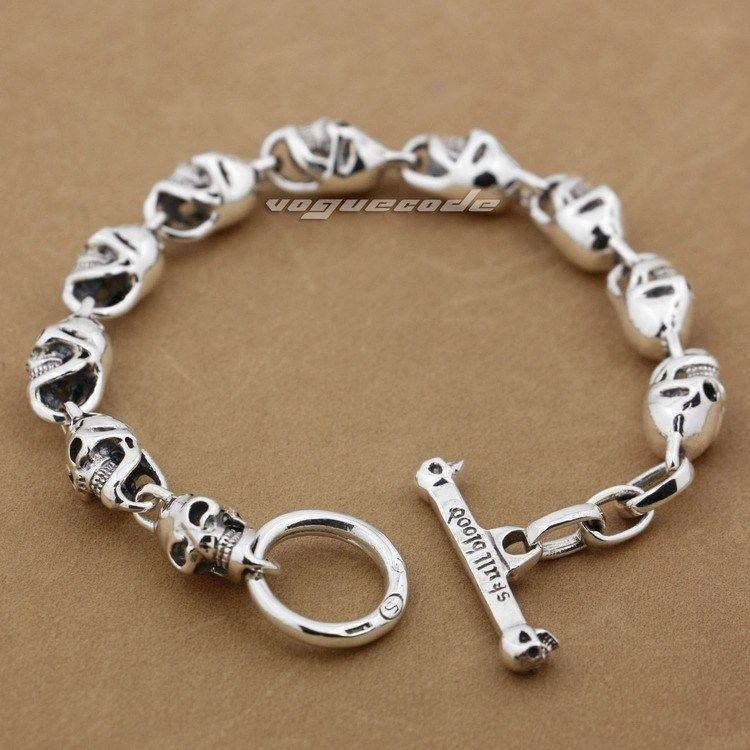 Sterling Silver Bracelet Ebay Images Shiny Rocker Fashion Solid 925 Cool Men 39