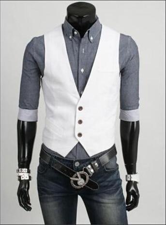 Мода Slim Фитнес Для мужчин жилет весна Для мужчин жилет Блейзер Жилеты цвет 5 Для мужчин Топы корректирующие одежда - Цвет: Белый
