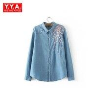 Women Denim Blouse Shirt Plus Size Long Sleeve Embroidery Floral Shirts 2017 Autumn Winter Clothing Female