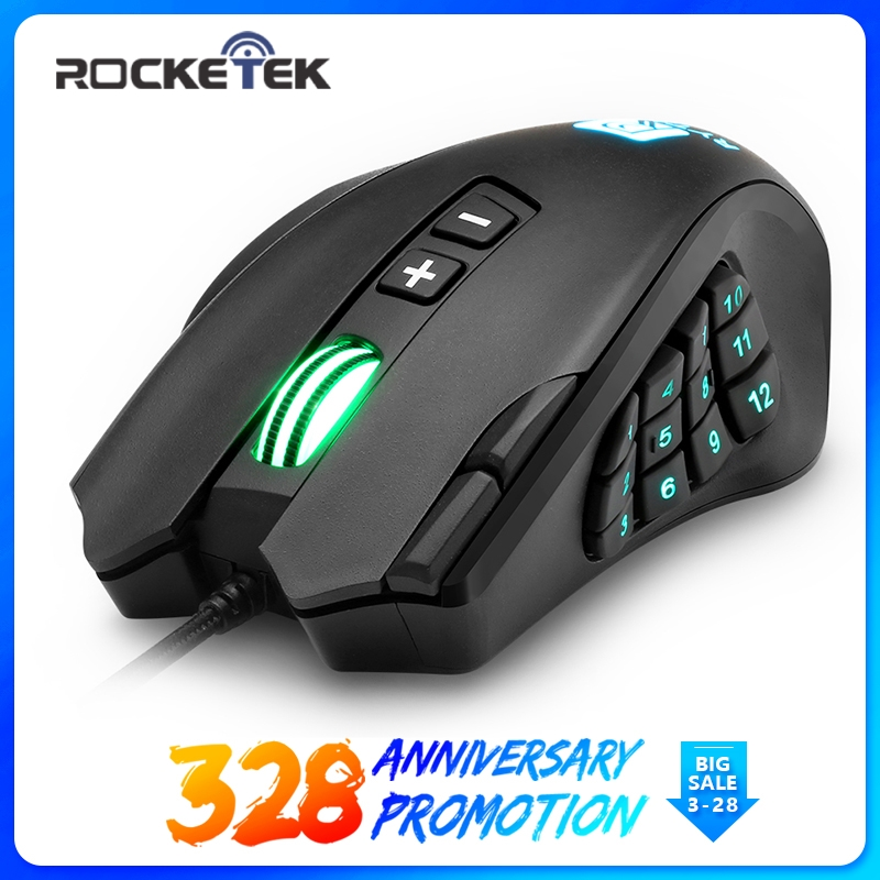 4509128ce07 Rocketek USB wired Gaming Mouse 16400 DPI 16 buttons laser programmable game  mice with backlight ergonomic