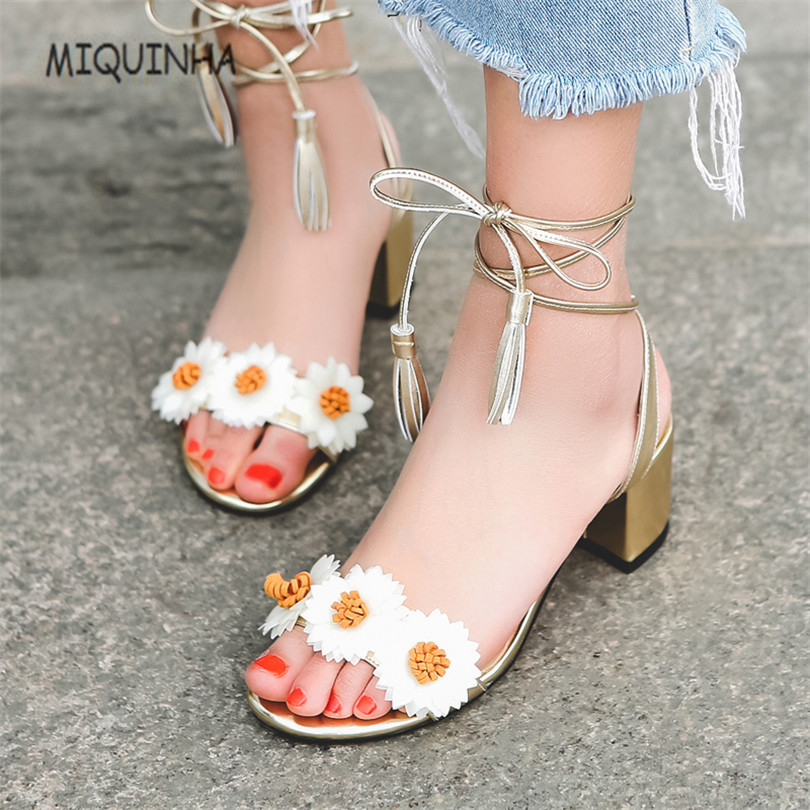 MIQUINHA 2017New Flower Zapatos Mujer Superstar Designer Summer Lace-Up Ankle Strap Gold Sandals Women Shoes Shoes Woman Sandals