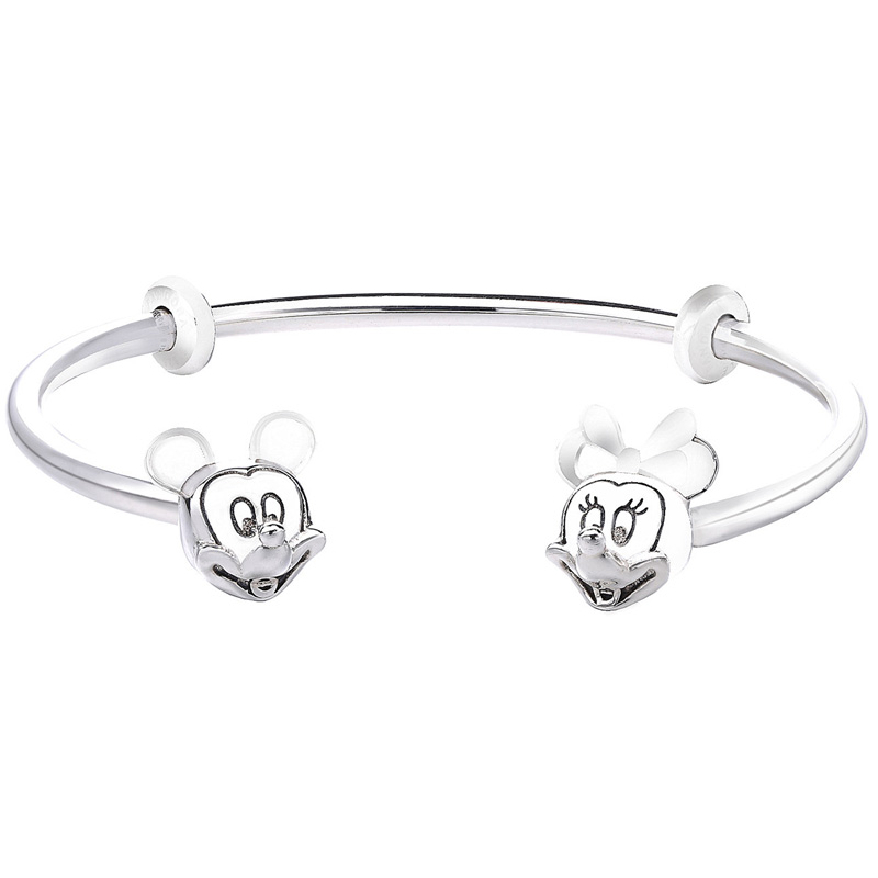 New 925 Sterling Silver MOMENTS Open Bangle With Minnie & Mickey Caps Bangle Bracelet Fit Bead Charm Pandora DIY Jewelry slovecabin 2017 new unique moment open bangle bracelet for women 925 sterling silver pave stone open bangle for bead diy jewelry
