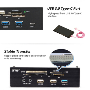 "Image 4 - שמש tipway STW 5.25 ""פנימי כרטיס קורא מדיה לוח המחוונים Multi פונקצית פנל קדמי למחשב סוג C USB 3.1 USB 3.0 תמיכה CF"