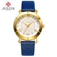 Юлий синий часы Для женщин Пояса из натуральной кожи ремень розового золота часы лучший бренд Для женщин роскошные кожаные кварцевые Военн...