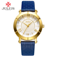 JULIUS Blue Watch Women Genuine Leather Strap Rose Gold Plated Watch Top Brand Women Luxury Leather Quartz Military Reloj JA 789