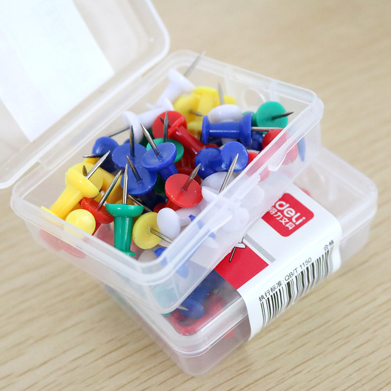 35 Pcs/pack Deli Colored Pushpins Metal Thumb Tacks Map Draws