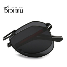 DIDI Polarized Folding Sunglasses Men Flat Top Pilot Eyewear Military Alloy Frame TAC Polaroid Lens Foldable Glasses Oculos H066