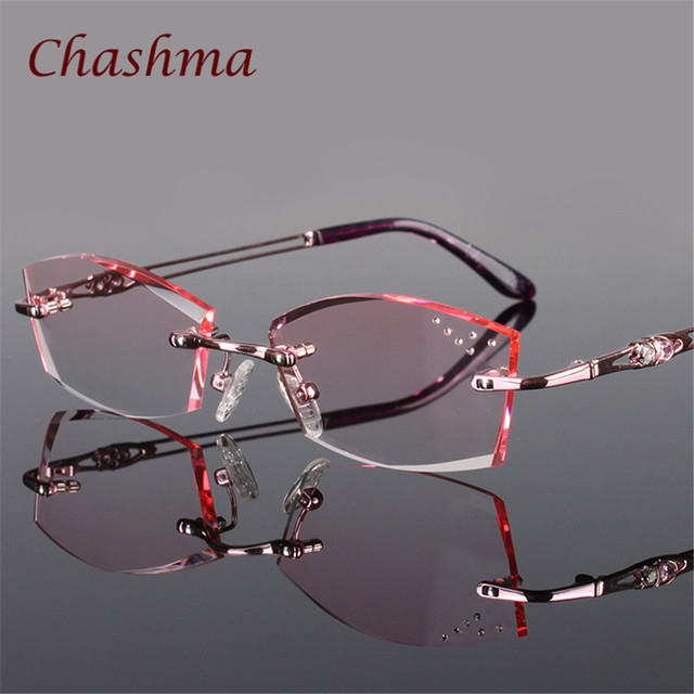 c7135b2ad87090 Chashma Marque Pur Titane À La Mode Lady Yeux Lunettes de Diamants Sans  Monture Montures de