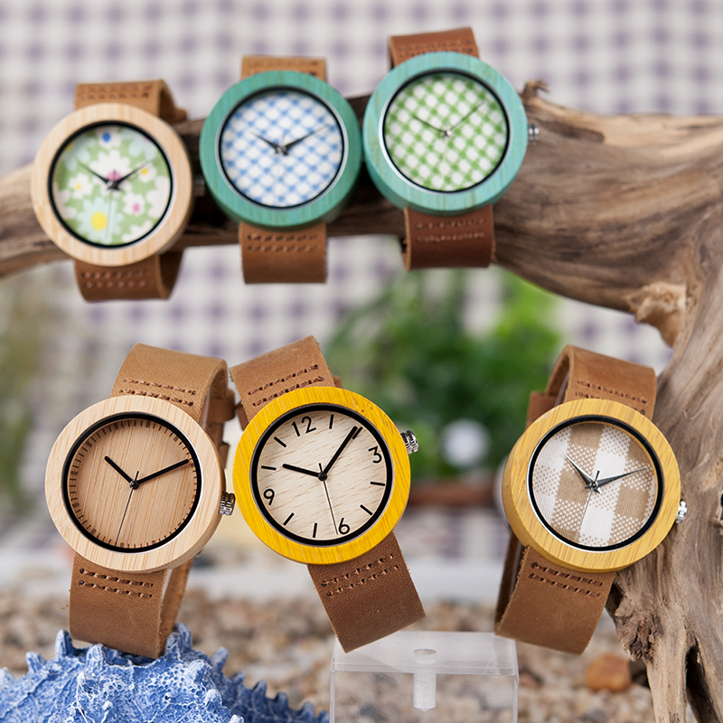 BOBO BIRD Womens Watches Luxury Fashion Bamboo Wrist Clock 6 Kinds Color Quartz Watch Relogio Feminino C-D18 DropShipping