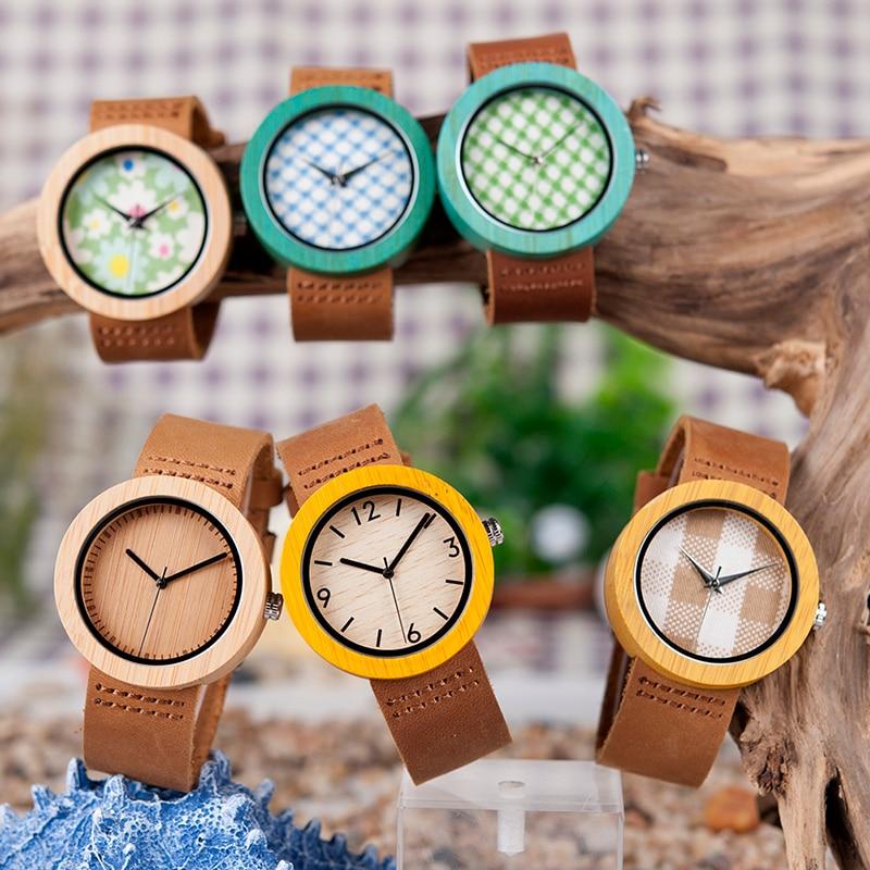 BOBO BIRD Womens Watches Luxury Fashion Bamboo Wrist Clock 6 Kinds Color Quartz Watch relogio feminino C-D18 DropShipping