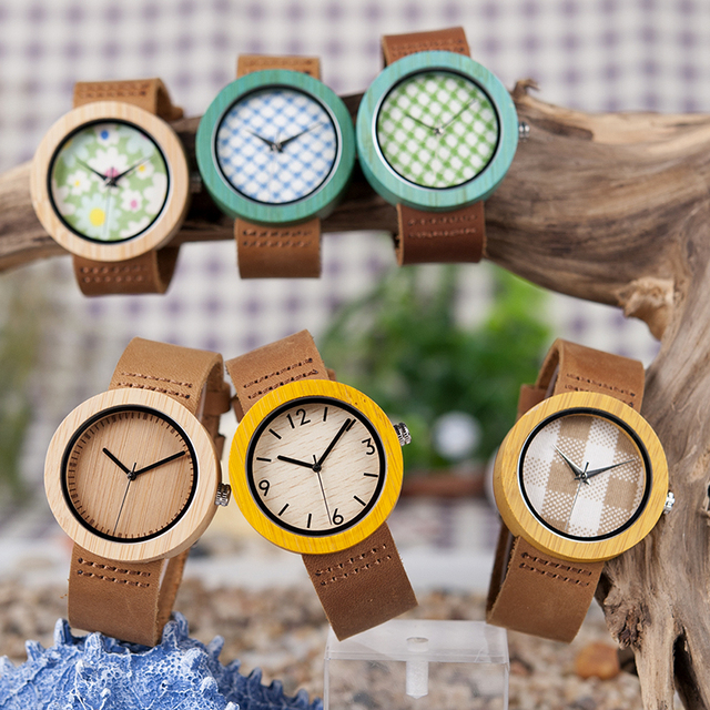 BOBO BIRD Womens Watches Luxury Fashion Bamboo часы женские Wrist Clock 6 Kinds Color Quartz Watch relogio feminino Dropshipping