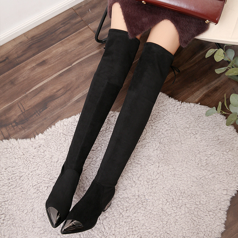 New autumn and winter cow velvet thick with high-heeled metal pointed boots Europe and the United States style fashionable women 2017 newinferior smooth pointed high women s shoes with ankle boots fine low europe and the united states pointe