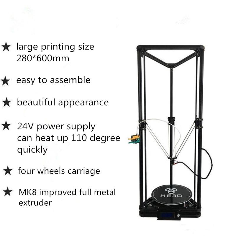 HE3D K280 delta de gran tamaño de nivelación automática extrusora el nuevo DLT-K280 3D DIY kit de impresora con heatbed