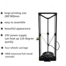 HE3D K280 delta large size Auto- leveling single extruder the newest DLT-K280 3D printer DIY kit with heatbed(China)