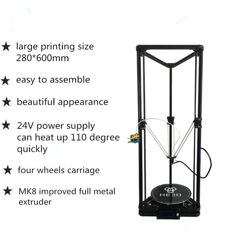 HE3D K280 delta tamanho grande Auto-nivelamento extrusora único o mais novo DLT-K280 impressora 3D kit DIY com heatbed