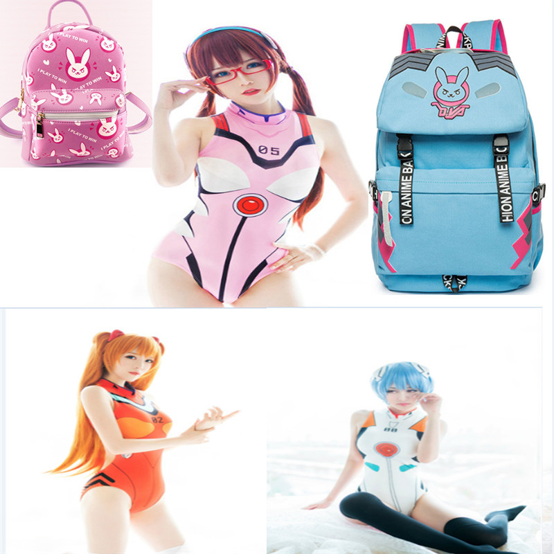 OW Game D.VA DVA Hana Song Cosplay Costume Korean version of the 2018 new fashion piece swimsuit D.VA sexy swimsuit DVA backpack ...