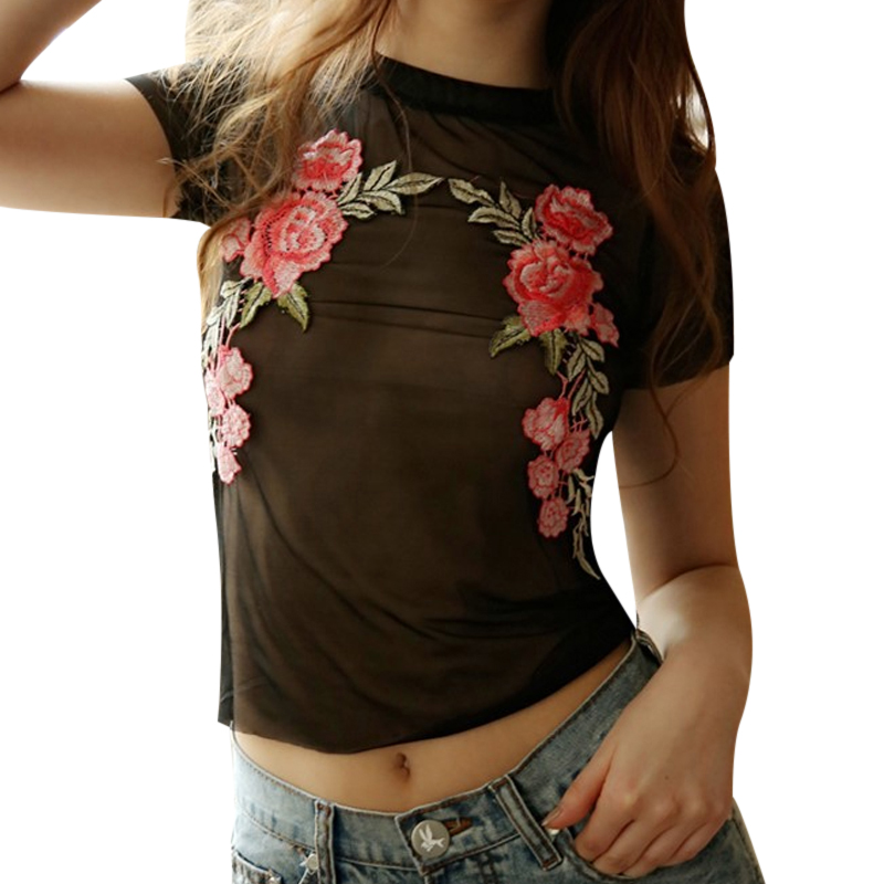 2018 Summer Ladies Black Mesh Tops Floral Blouse Femme Embroidery Transparent Shirts Short Sleeve Tunic Blusas Mujer Streetwear semi formal summer dresses