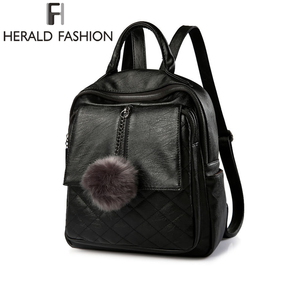 ad53af29083d Herald Fashion Women Casual Travel Backpack Soft PU Leather Backpack Solid  Simple font b School b