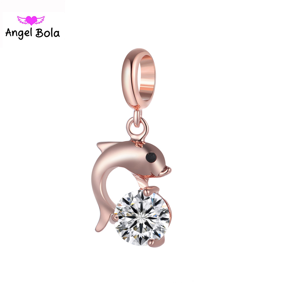 Dolphin Design Endless Charms with AAA Zircon Interchangeable Slide Beads Endless Bracelets Charm for Women Gift EP-115