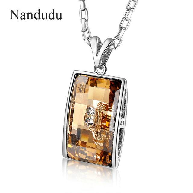 Nandudu Bijuterias Retângulo Champanhe Stellux Cristal Austríaco Pingente Colar 2017 NEW ARRIVAL Presente CN129