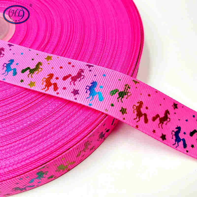 Рождественская лента Hl 5 ярдов 25 мм горячее тиснение корсажные ленты Свадебные украшения Швейное Ремесло «сделай сам» для изготовления бантов для волос - Color: fushia