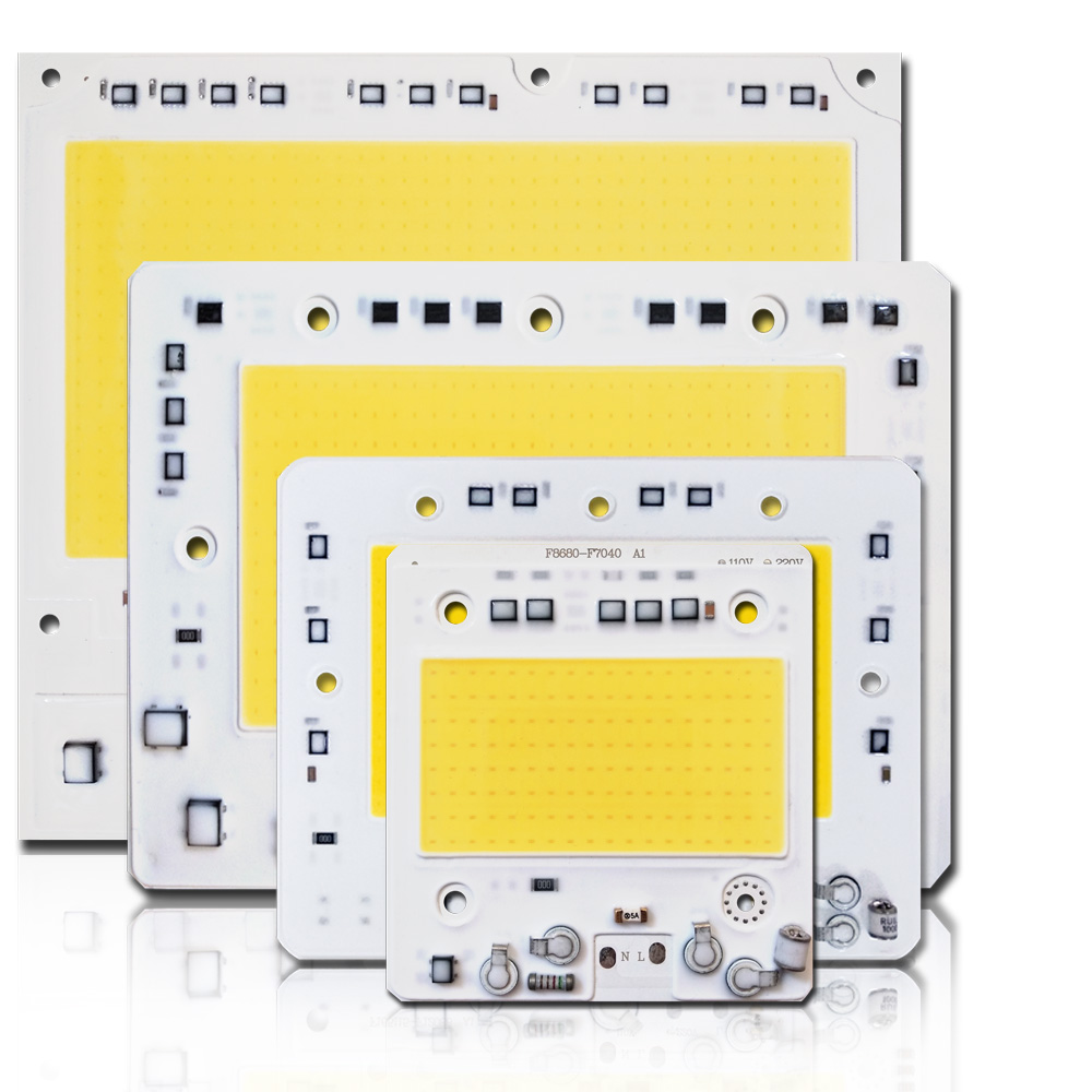 5pcs/lot LED COB CHIP AC110V/220V Input With Smart IC 50W 100W 150W 200W Fit For DIY Floodlight High Anti-surge Voltage