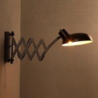 Vintage E27 versenkbare Loft Wand lampe industrielle Teleskop wandleuchter Indoor Nacht verlängern arm schaukel arm führte wand licht-in Wandleuchten aus Licht & Beleuchtung bei