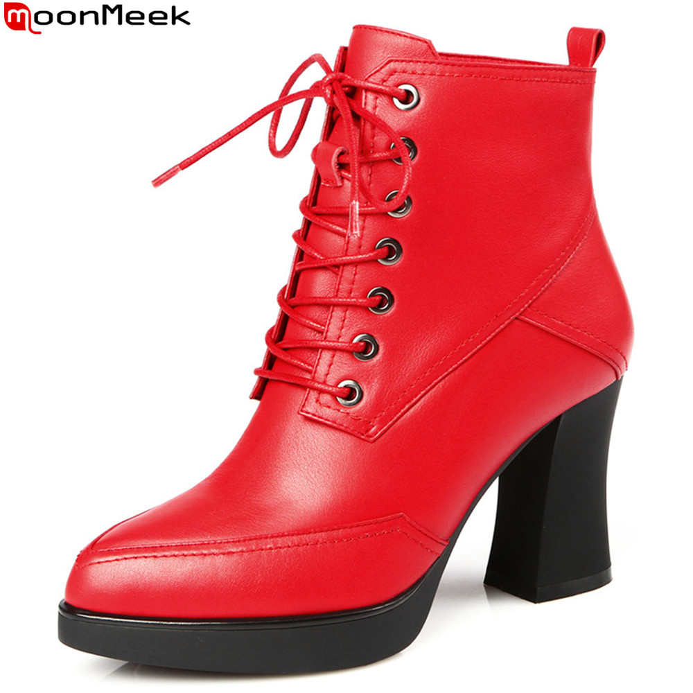 MoonMeek fashion autumn winter new arrive women boots black red genuine leather boots lace up cow leather ankle boots moonmeek fashion new arrive women boots pointed toe genuine leather boots black red zipper cow leather ankle boots autumn winter