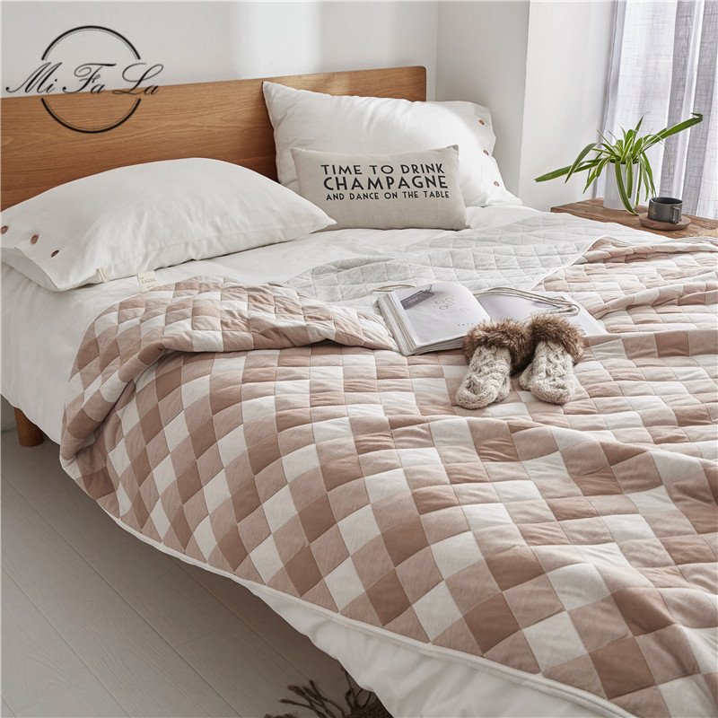 Soft Cotton Towel Blankets for Beds Soft Air Conditioning Summer Quilt Full Queen Sofa Bed Cover Plaid Bedspread Sheet Manta koc