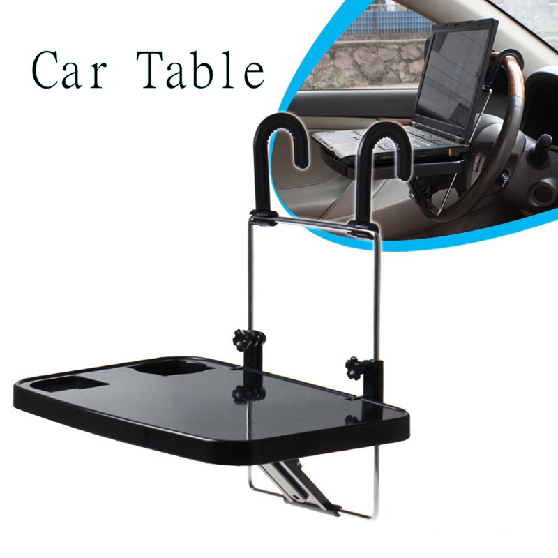 Car Seat Steering Wheel Foldable Laptop Stand Multi-functional Food Drink Table Holder ABS + Hardware Material