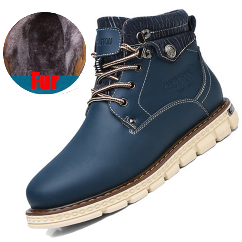 LELE 2017 New Winter Men Ankle Martin Boots Fashion Platform Boots Lace Up With Fur Timber Snow Boots Men Casual High Top Shoes xiaguocai new arrival real leather casual shoes men boots with fur warm men winter shoes fashion lace up flats ankle boots h599