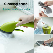 Household Cleaning Tools Multifunction Long Handle Automatic Sink Add Detergent  Water Spray Brush