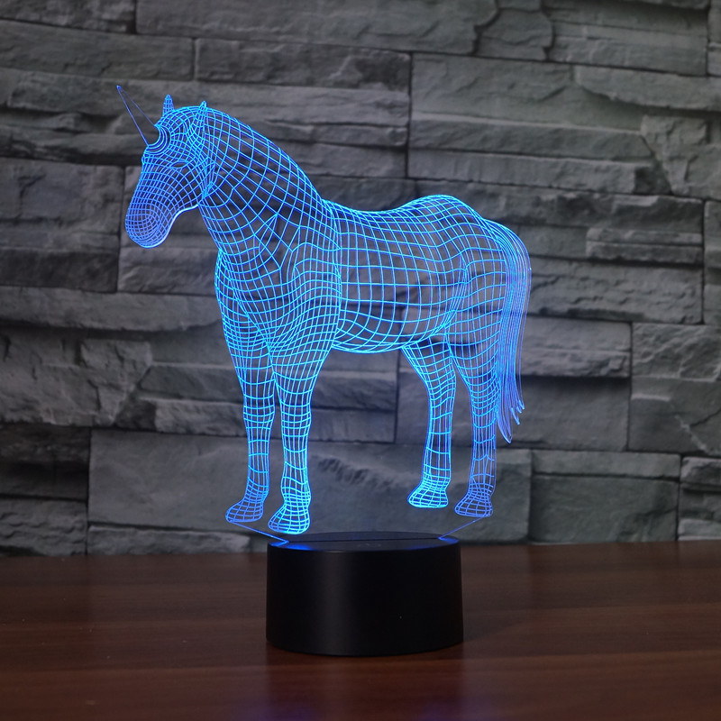 Unicorn USB LED Lamp luminaria infantil de quarto led 3D night light For Living Room white rotating rechargeable led talbe lamp usb micro charging eye protection night light dimmerable bedsides luminaria de mesa