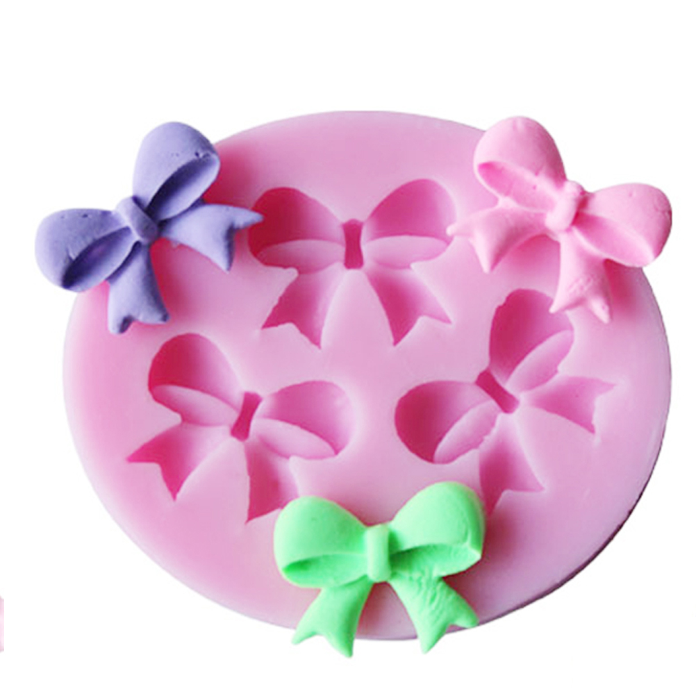 3-Hole Bow Bowknot Design Shape Silicone Mold Fondant Mould Art Tools Silicone Mold DIY Handmade Love Heart Jewelry Tools