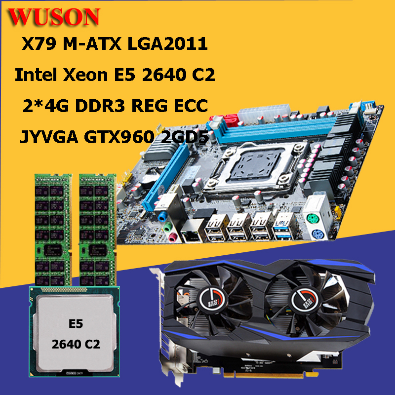 HUANAN X79 M-ATX motherboard CPU RAM Video card combos CPU Xeon E5 2640 RAM 8G(2*4G) DDR3 REG ECC with video card GTX960 2GD5 deluxe edition huanan x79 lga2011 motherboard cpu ram combos xeon e5 1650 c2 ram 16g 4 4g ddr3 1333mhz recc gift cooler