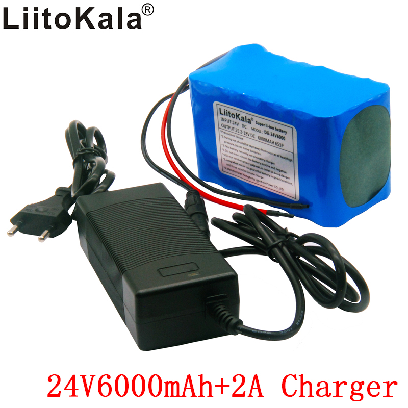 Liitokala 24V 6Ah 6S3P battery pack 25.2v 6000mAh 18650 applies to electric bicycle power equipment + 25.2V 2Ah charger liitokala 36v 6ah 10s3p 18650 rechargeable battery pack modified bicycles electric vehicle protection with pcb 36v 2a charger
