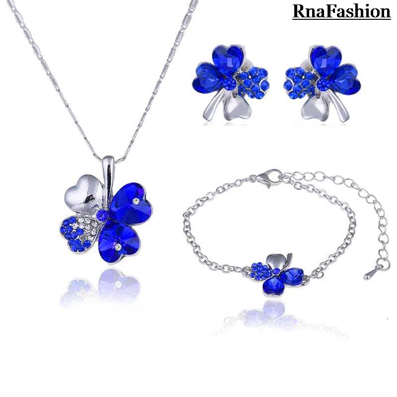 High Quality Trendy Austria Crystal Heart Four Leaf Clover Necklace Stud Earrings/Bracelet European Jewelry Sets For Women