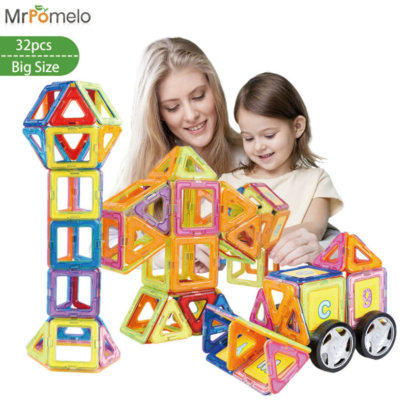 MrPomelo Enlighten Bricks Educational Magnetic Designer Toy 3D DIY Model Building Blocks for Kids 32pcs with Car Wheels small car shape magnetic designer building blocks model