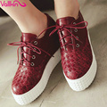 VALLKIN Plus Size 11 12  PU  Platform Summer Women Pumps Wedges High Heel Lace Up Ladies Height Increasing Casual Shoes