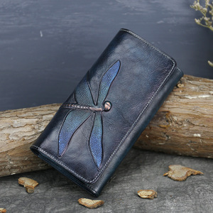 Natural Skin Money Long Wallets Multi-Cards Cash Holder Dragonfly Pattern High Quality Genuine Leather Women Clutch Purse(China)