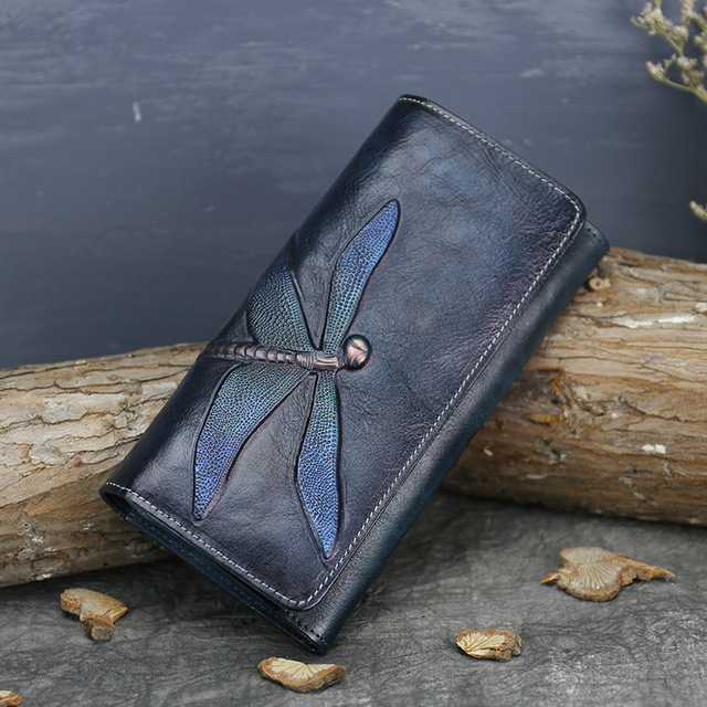 Natural Skin Money Long Wallets Multi-Cards Cash Holder Dragonfly Pattern  High Quality Genuine Leather Women Clutch Purse