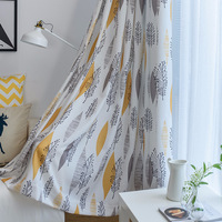 Cotton and Linen Shade Printing Is Fresh and Simple Curtains for Living Dining Room Bedroom.